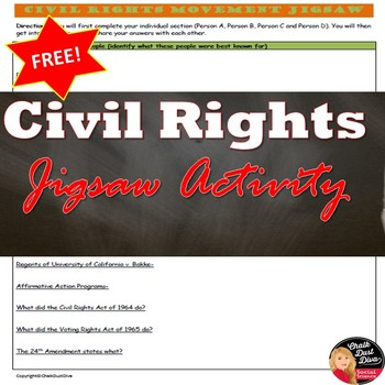 FREE! Civil Rights Movement Jigsaw worksheet (U.S. History)