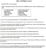 Civil Rights Movement Leaders Quiz (U.S. History)