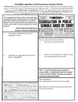 Civil Rights Movement Legislation Primary Source Analysis Homework Activity
