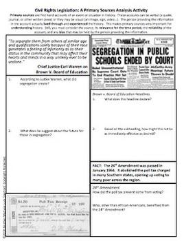 Civil Rights Movement Legislation Primary Source Analysis Homework Activity