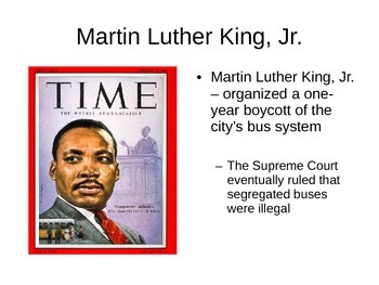 Civil Rights Movement / Martin Luther King, Jr (MLK) PowerPoint Notes