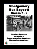 Civil Rights Movement - Montgomery Bus Boycott - Reading Passage- Grades 7 to 9
