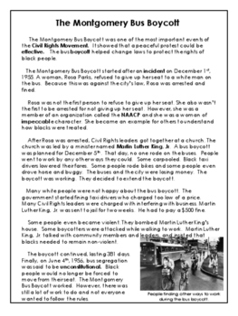 Civil Rights Movement - Montgomery Bus Boycott - Reading Passage- Grades 7 to 9