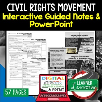 Civil Rights Movement Notes & PowerPoints, US History, Print, Digital