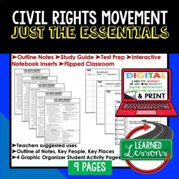 Civil Rights Movement Outline Notes JUST THE ESSENTIALS Unit Review