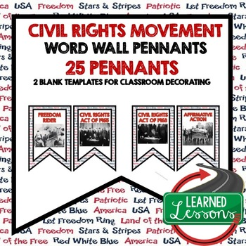 Civil Rights Movement Pennant Word Wall (American History)