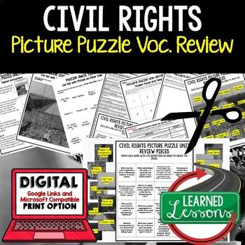 Civil Rights Movement Picture Puzzle Unit Review, Study Guide, Test Prep