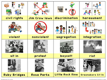 Civil Rights Movement Picture Vocabulary Cards