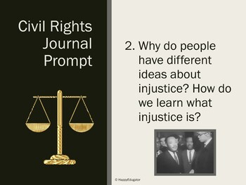 Civil Rights Movement PowerPoint of 20 Journal Writing Prompts MLK Unit Support