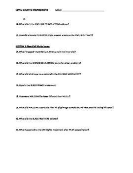 Civil Rights Movement Presentation Notesheet