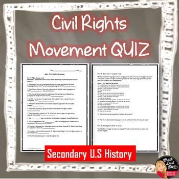 Civil Rights Movement Quiz (Secondary U.S. History)