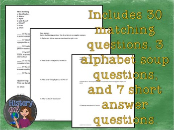 Civil Rights Movement Quiz and Answer Key {Editable!}