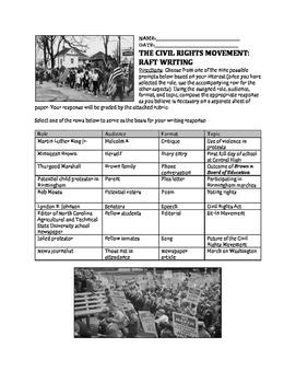 Civil Rights Movement RAFT Writing Activity