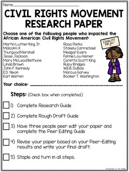 Civil Rights Movement Research Paper, includes all steps of process