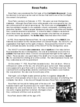 Civil Rights Movement - Rosa Parks - Reading Passage - Grades 7 to 9