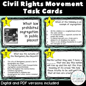 Civil Rights Movement Task Cards