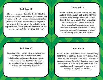 Civil Rights Movement Task Cards Grades 6-9