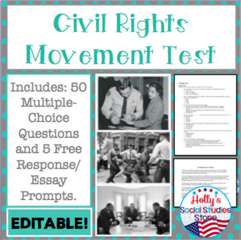 Civil Rights Movement Test- EDITABLE