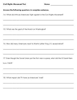 Civil Rights Movement Test