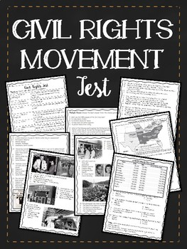 Civil Rights Movement Test- Key Events, Figures, 40 questions + DBQ, Essay