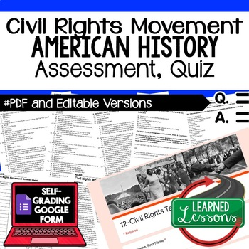 Civil Rights Movement Test and Quiz, American History Assessment