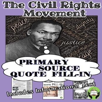 Civil Rights Movement Thought Bubbles Grades 6-12