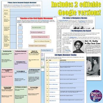 Civil Rights Movement Timeline Activities by Students of ...