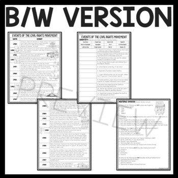 Civil Rights Movement Timeline Reading Comprehension Worksheet