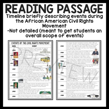 Civil Rights Movement Timeline Reading Comprehension ...