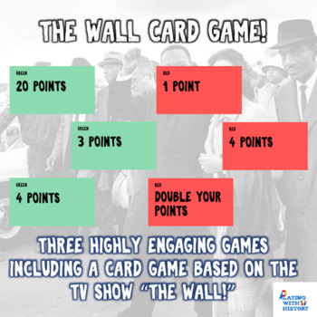 Civil Rights Movement Unit 3 Review Games - Includes The Wall Card Review Game!