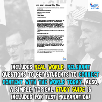 Civil Rights Movement Unit Test with Study Guide
