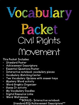 Civil Rights Movement Vocabulary Packet