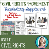 Civil Rights Movement Vocabulary Posters, Flash Cards, Wor
