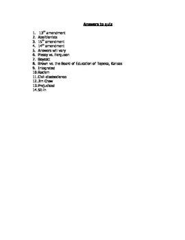 Civil Rights Movement Vocabulary Quiz