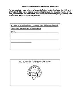 Civil Rights Movement Vocabulary activity