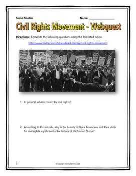 Civil Rights Movement - Webquest with Teachers Key (American History)