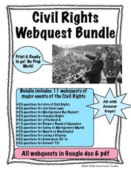 Civil Rights Movement Webquests Bundle by Middle School ...