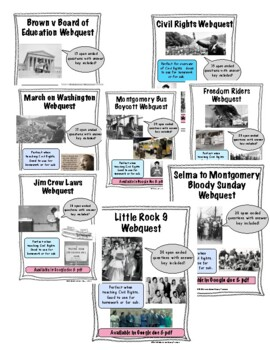 Civil Rights Movement Webquests Bundle by Middle School ...