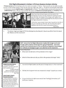 Civil Rights Movement in Action Primary Source Analysis Activity