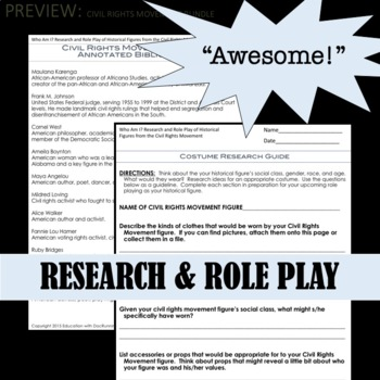 Civil Rights Movement Activity, Bell-ringer and Project Mini-Bundle