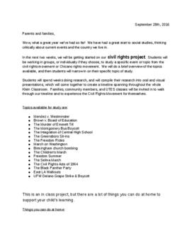 Civil Rights Movement parent letter