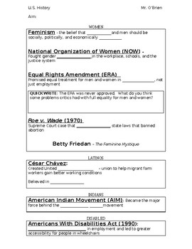 Civil Rights PowerPoint (groups other than blacks) Worksheet