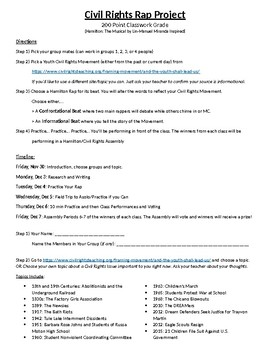 Civil Rights Rap Project Directions and Worksheet