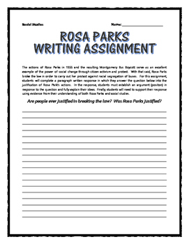 Civil Rights - Rosa Parks (Reading, Primary Sources, Project, Assignments)