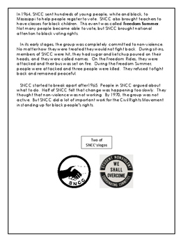 Civil Rights - SNCC - Grades 7 - 9