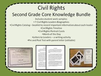 Civil Rights Second Grade Core Knowledge Bundle w/ work samples