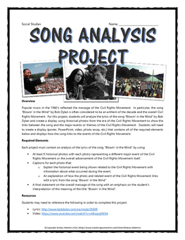 Civil Rights - Song Analysis Project (Blowin' in the Wind by Bob Dylan)