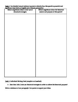 Civil Rights Speech Analysis (ELA-History Common Core Aligned)