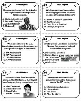 Civil Rights Task Cards/ Black History Month Task Cards with Martin Luther King