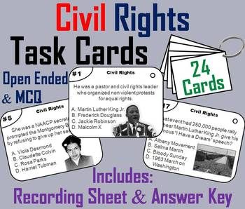 Civil Rights Task Cards/ Black History Month Task Cards wi